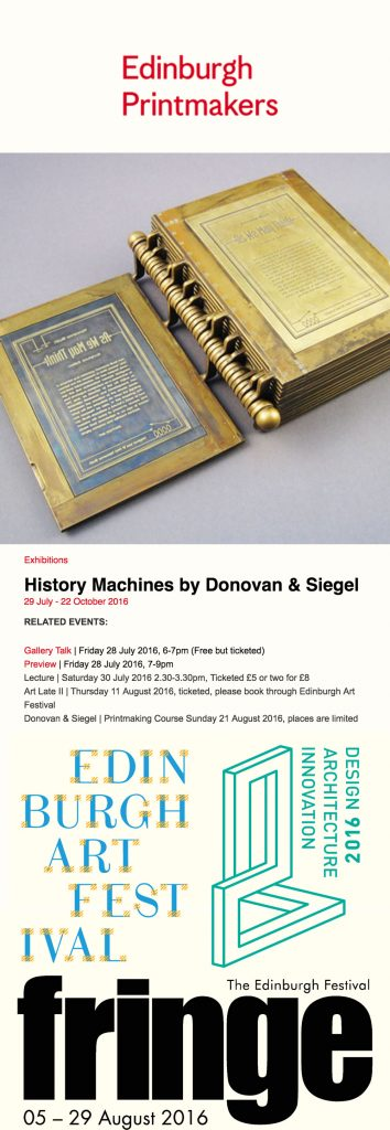 Donovan Siegel at Edinburgh Prinktmakers, 2016. Edinburgh Fringe Festival, Edinburgh Arts Festival, Year of Architecture, Design and Innovation